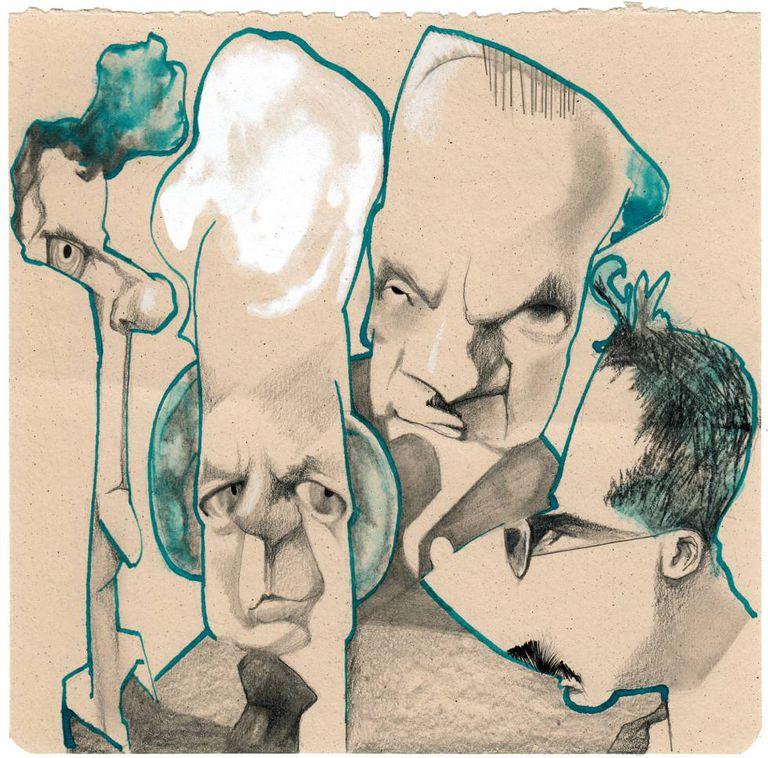A partir da esquerda, Wittgenstein, Cassirer, Heidegger e Benjamin, vistos por Sciammarella.