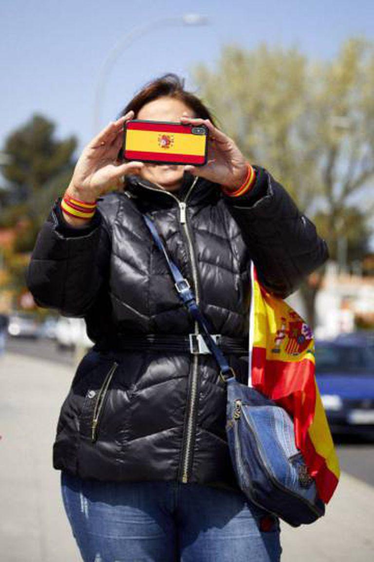 Uma participante do comício do Vox em Ciudad Real.