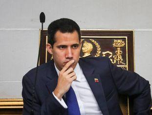 O presidente interino da Venezuela, Juan Guaidó, nesta terça-feira na Assembleia.