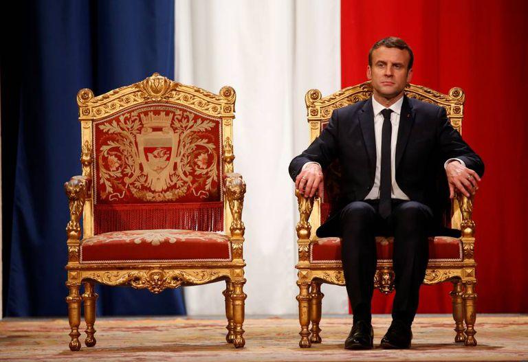 Emmanuel Macron na sua posse como presidente da República, em maio de 2017.