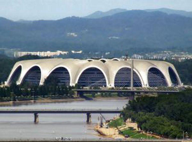 O estádio Primeiro de Maio Rungrado, na Coreia do Norte.