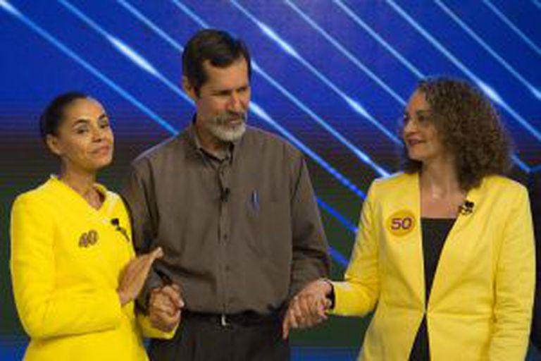 Eduardo Jorge, Marina Silva e Luciana Genro, antes do início do debate.