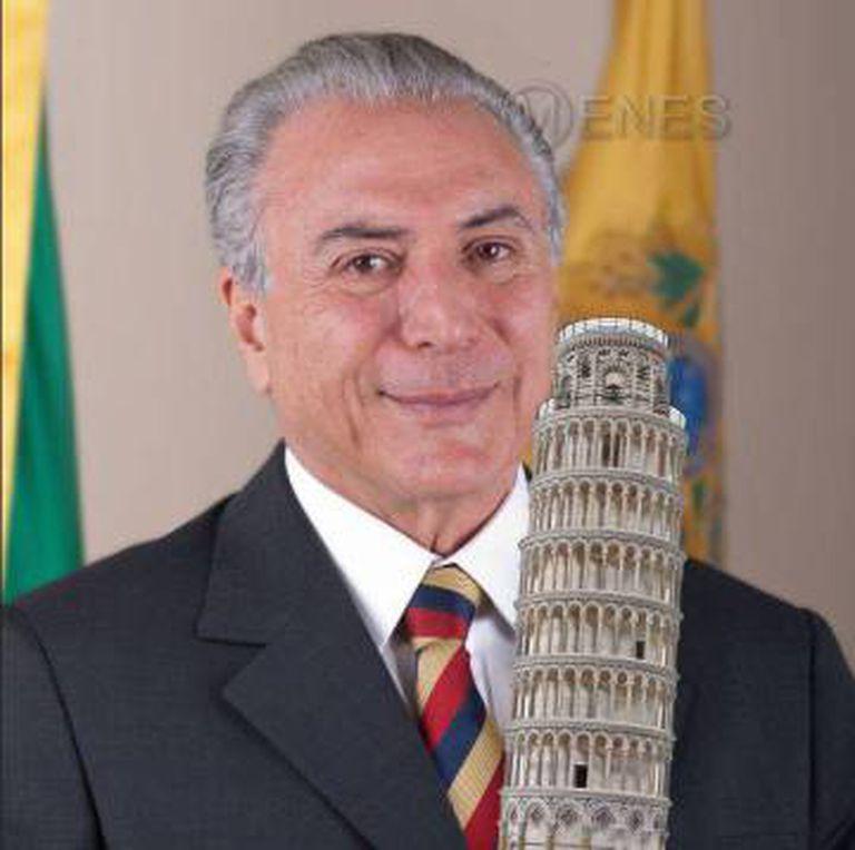 Meme com o presidente brasileiro Michel Temer.