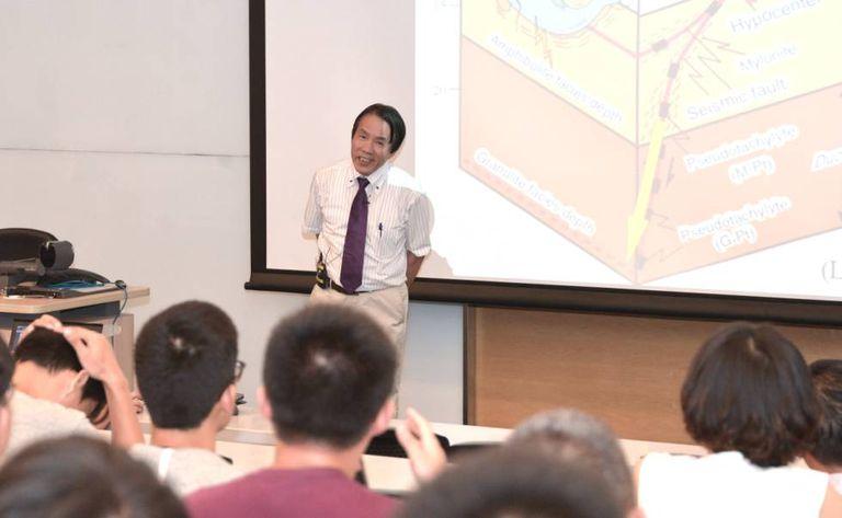 O cientista Aiming Lin durante uma palestra na Universidade de Hong Kong, em 2017
