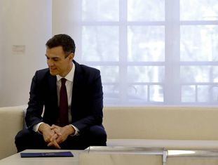 Pedro Sánchez, na entrevista coletiva deste sábado.