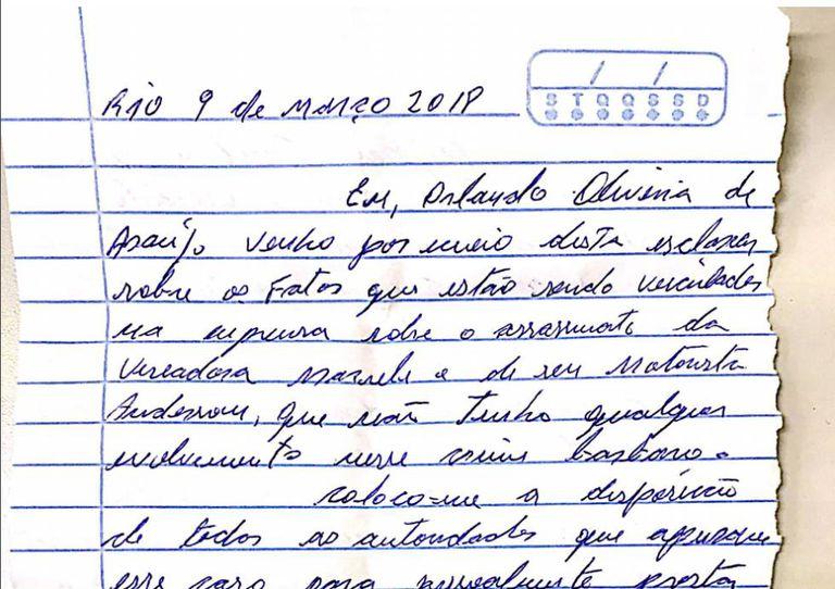 Trecho da carta do ex-policial.