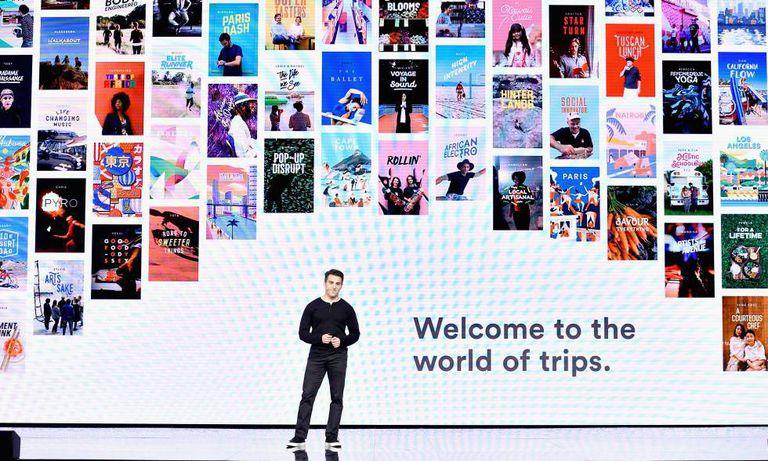 Brian Chesky, executivo-chefe do Airbnb, durante um evento da companhia.