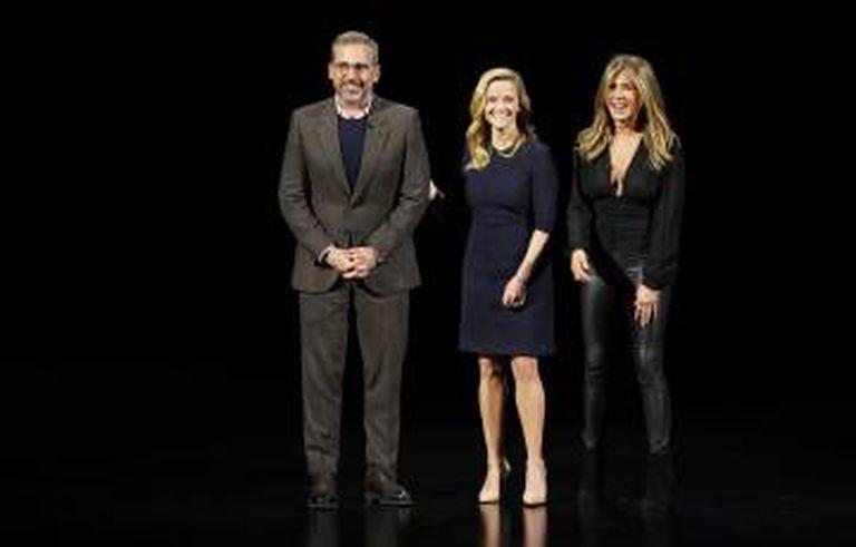 Steve Carell, Reese Witherspoon e Jennifer Aniston, no evento de hoje.