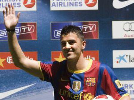David Villa durante a sua apresentação como jogador do Barcelona.