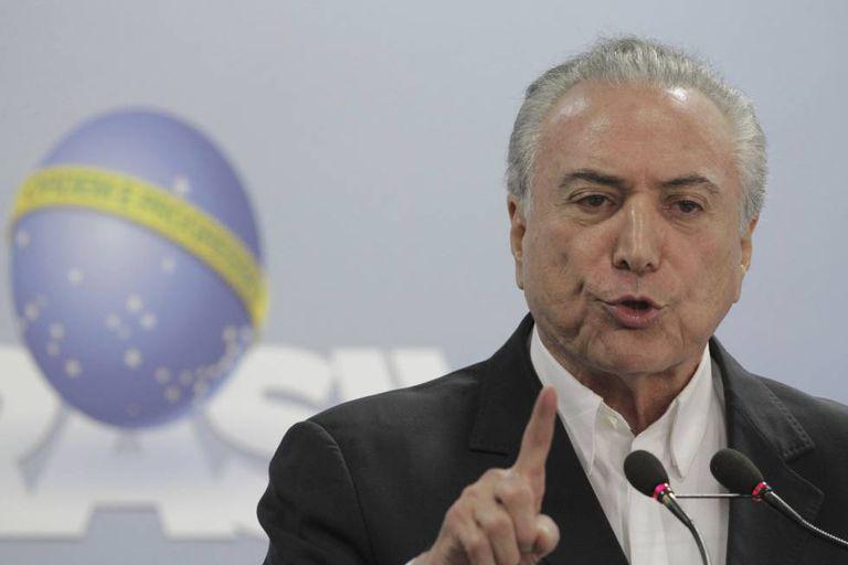 Michel Temer, em pronunciamento neste sábado, em Brasília.