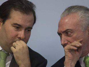 O presidente da Câmara, Rodrigo Maia, e o presidente Michel Temer