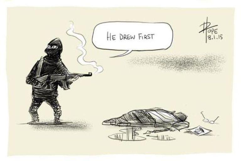 """""""Ele desenhou primeiro"""", diz cartoon de David Pope."""