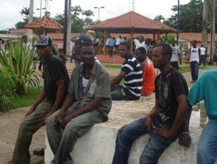 Um grupo de haitianos em Brasileia, em 2012.