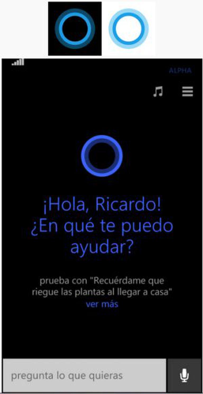 Interface gráfica de Cortana em sua versão móvel.