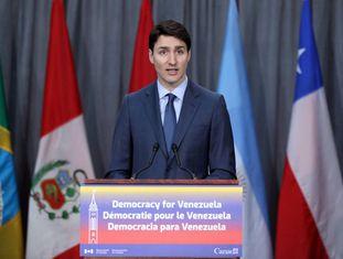 O primeiro-ministro canadense, Justin Trudeau, no começo da reunião do grupo de Lima na segunda-feira em Ottawa.