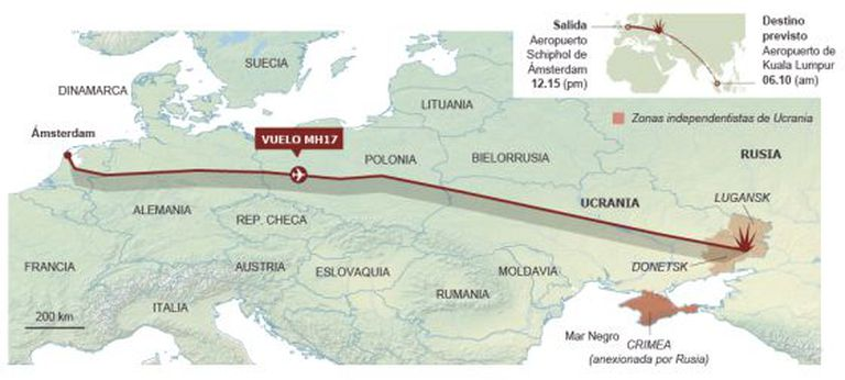 Tragédia aérea na Ucrânia (leia em espanhol). Fonte: Flightradar24.com, Malaysia Airlines e agências. / EL PAÍS