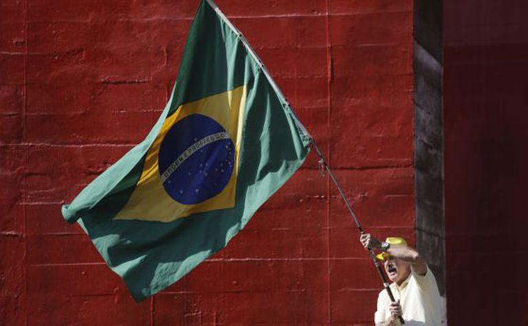 Manifestante neste domingo, na Paulista.