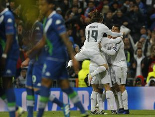 Cristiano Ronaldo comemora gol do Real Madrid.
