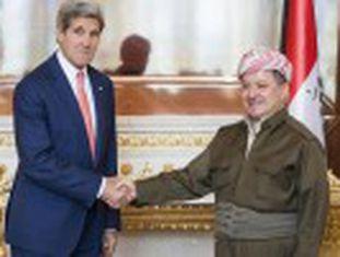 O secretário de Estado dos EUA, John Kerry, reúne-se com o presidente do Curdistão iraquiano após se encontrar com Al Maliki