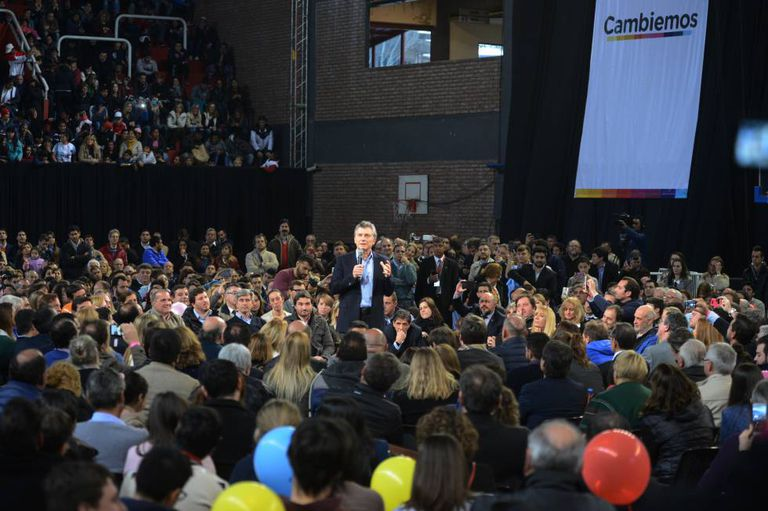 O presidente Mauricio Macri em ato de campanha em Santa Fé.