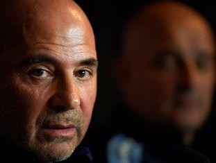 Jorge Sampaoli durante sua apresentação como novo treinador da seleção argentina.