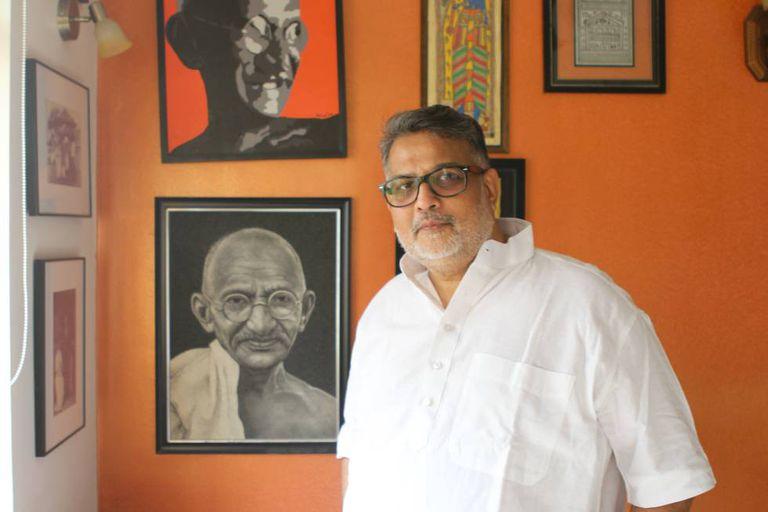 Tushar Gandhi, em sua residência em Mumbai