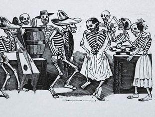 Obra 'El Jarabe en Ultratumba', de José Guadalupe Posada.