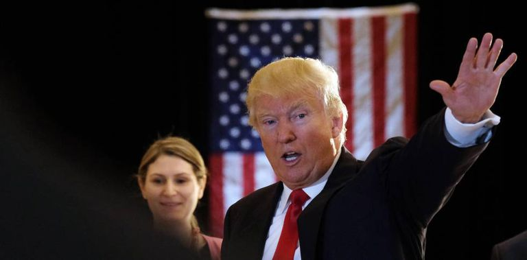 Donald Trump, após uma entrevista coletiva nesta terça-feira, em Nova York.