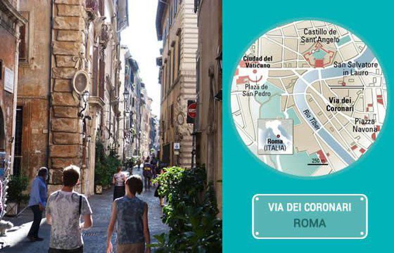 A Via dei Coronari, em Roma.