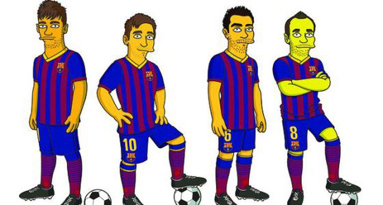 Os personagens de Neymar, Messi, Xavi e Iniesta.