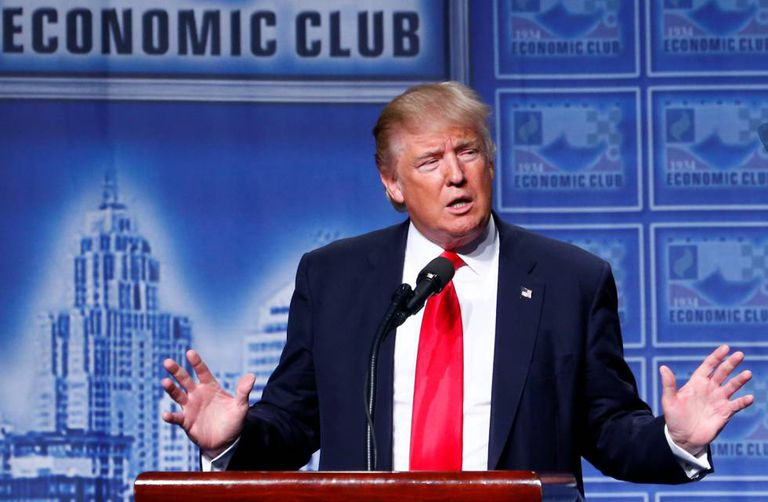 O candidato republicano Donald Trump em Detroit.
