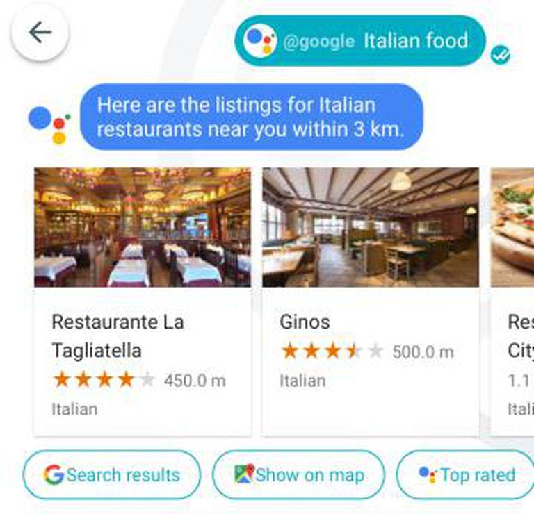 Sugestões de restaurantes próximos.