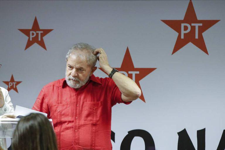 O ex-presidente Lula, no Congresso Nacional do PT.
