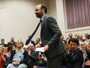 O novo primeiro-ministro francês, Édouard Philippe, em um ato eleitoral na sua cidade, Le Havre