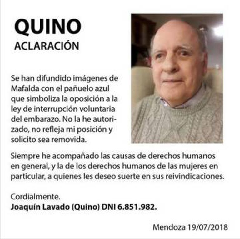 O desmentido de Quino publicado por sua editora.