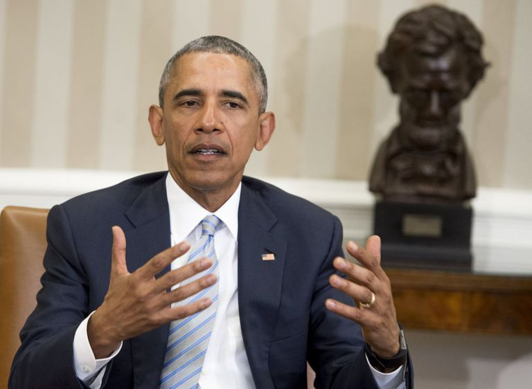 Barack Obama, durante anúncio oficial no Salão Oval, na Casa Branca.