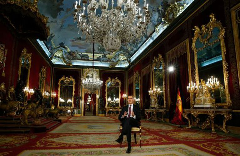 O rei Felipe VI durante a mensagem de Natal.