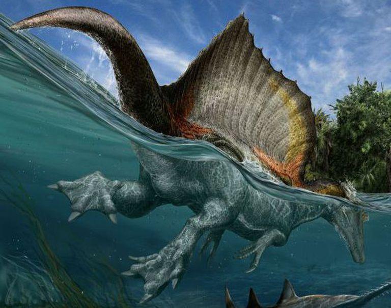 Ilustração do enorme espinossauro, nadando e capturando grandes peixes.