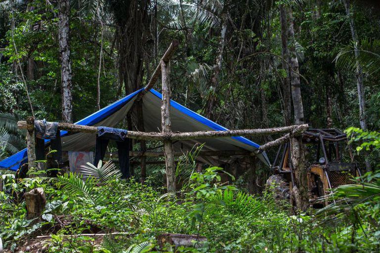 Acampamento de exploradores de madeira dentro do território Suruí.
