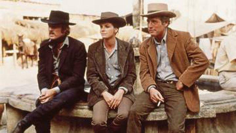 O trio de protagonistas durante a filmagem no México.