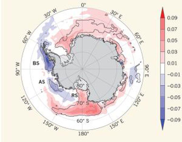 Variação da cobertura de gelo marinho na Antártica calculada em porcentagens de extensão por década (1979 e 2012): o gelo aumenta nas áreas marcadas em vermelho (leste e oeste) e diminui nas zonas em azul.
