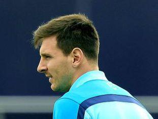 Messi em um treinamento do Barcelona.