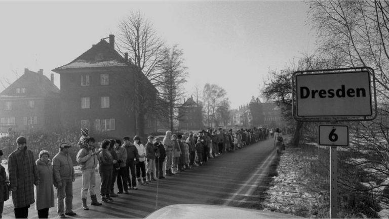 Protesto em Dresden no outono de 1989 para exigir reformas democráticas.