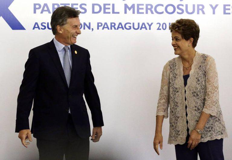 Presidente argentino Mauricio Macri e Dilma Rousseff.