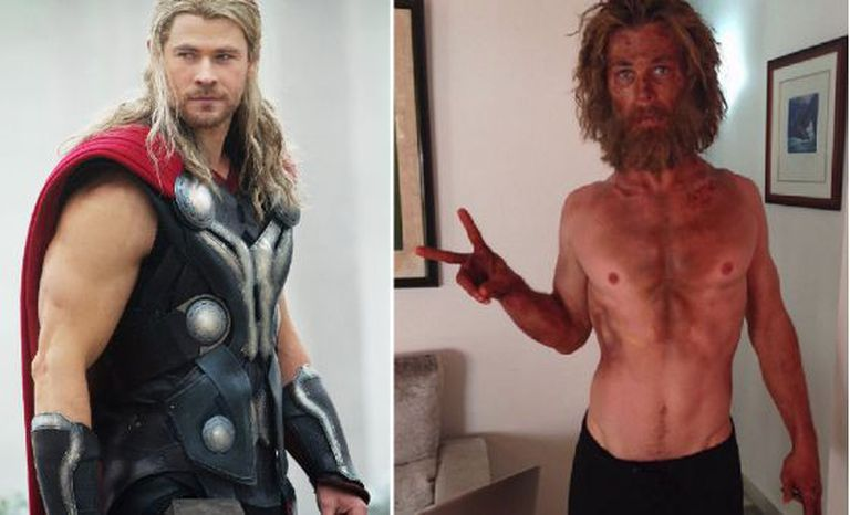 Chris Hemsworth como Thor e depois da dieta.