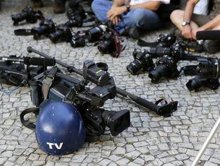 Protesto de jornalistas o dia 10 de fevereiro no Rio pela morte do cinegrafista Santiago Andrade.
