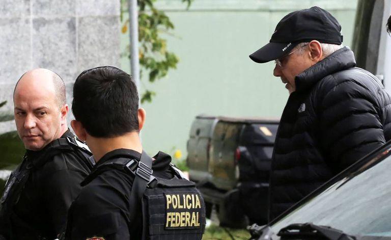 O ex-ministro Guido Mantega durante suaprisão.