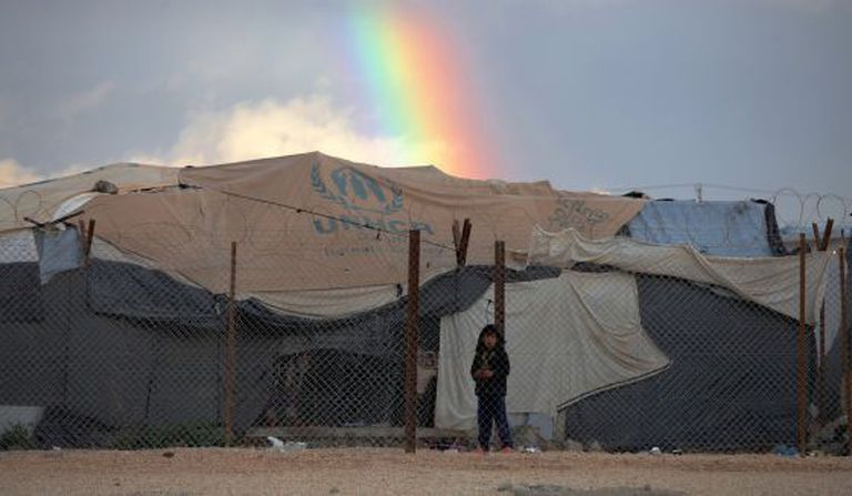 Uma criança síria refugiada no campo de Zaatari, em Jordânia.