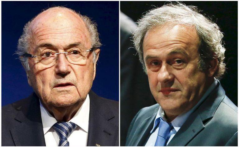 Blatter, ex-presidente da FIFA, e Platini, da UEFA.
