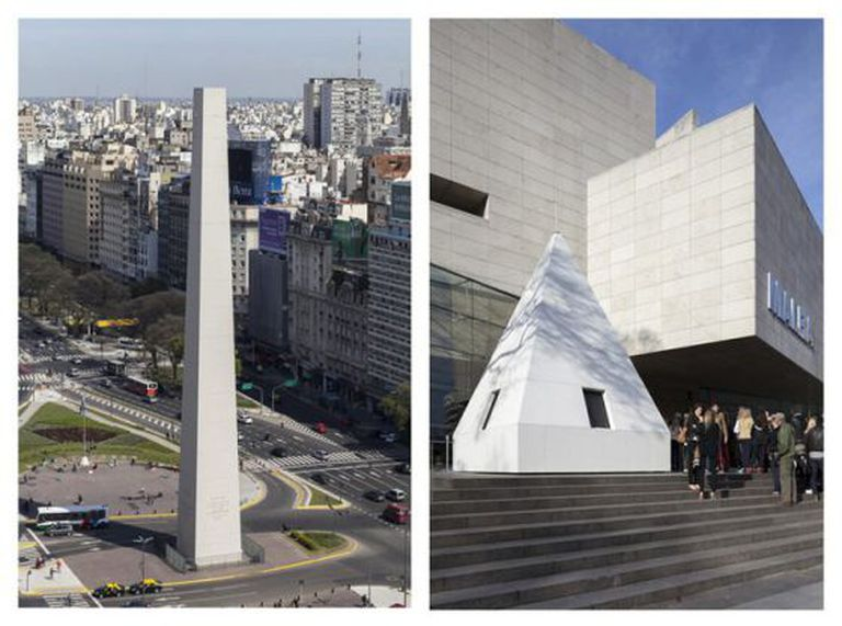 O obelisco de Buenos Aires amanheceu neste domingo sem a sua típica cúpula piramidal.